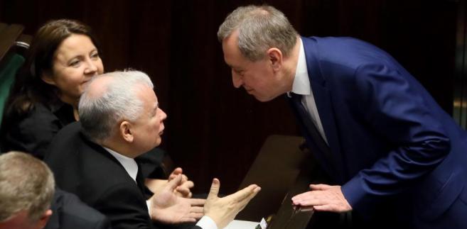 Jarosław Kaczyński, Henryk Kowalczyk i Joanna Lichocka podczas posiedzenia Sejmu.