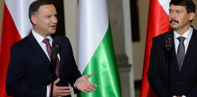 Prezydent Andrzej Duda i prezydent Węgier Janos Ader