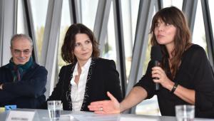 Sławomir Idziak, aktorka Juliette Binoche oraz Małgorzata Szumowska podczas konferencji prasowej Plenerów Film Spring Open 2016.