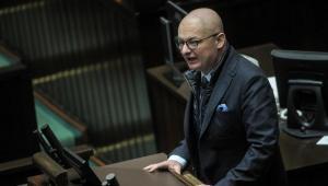 Poseł PSL Michał Kamiński podczas debaty w Sejmie, w trakcie pierwszego czytania projektu obywatelskiego nt. ustawy dezubekizacyjnej.