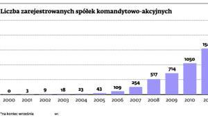 Liczba zarejestrowanych spółek komandytowo-akcyjnych