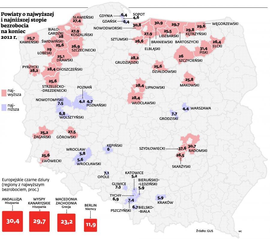 Powiaty w najwyższej i najniższej stopie bezrobocia na koniec 2012 r.