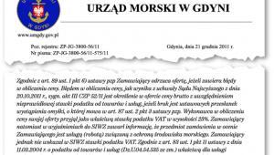 Fragment pisma Urzędu Morskiego w Gdyni
