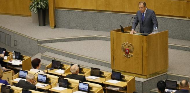 Szef rosyjskiego MSZ Siergiej Ławrow w Dumie Państwowej