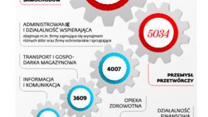 Wzrost liczby firm z zawieszoną działalnością w wybranych branżach*