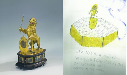 Zegar z lwem w oryginale i opisany przez jednego z młodych współtwórców wystawy