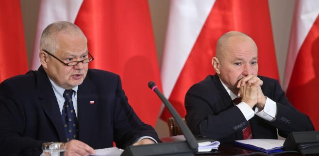 Sekretarz stanu w Kancelarii Prezydenta RP Maciej Łopiński oraz prezes Narodowego Banku Polskiego Adam Glapiński