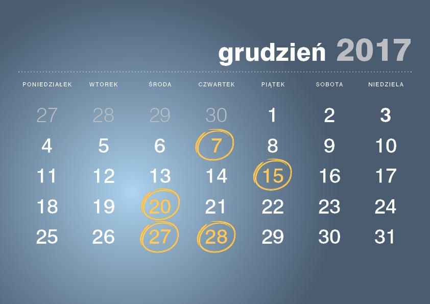Kalendarz podatnika grudzień