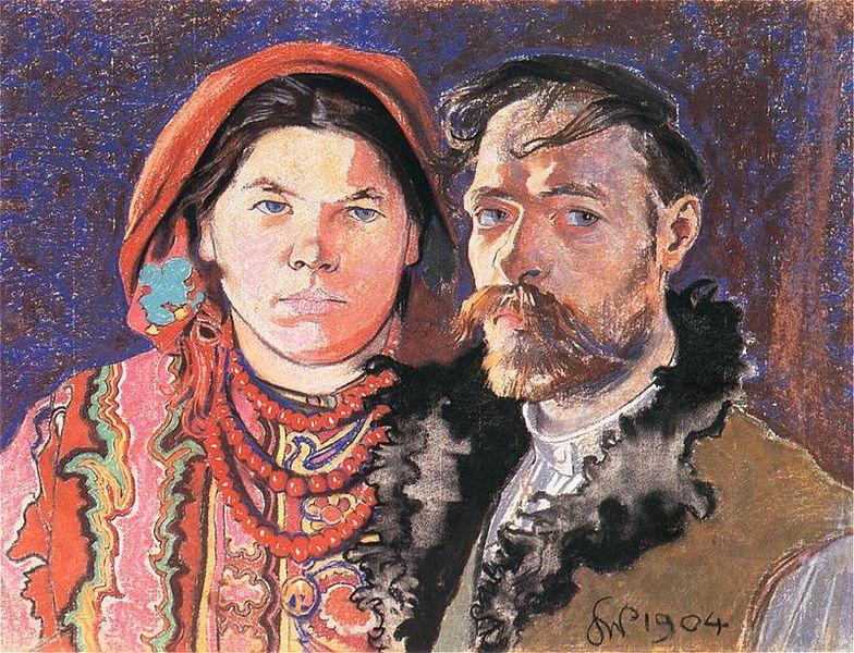 """Stanisław Wyspiański, """"Portret artysty z żoną"""" (1904)"""