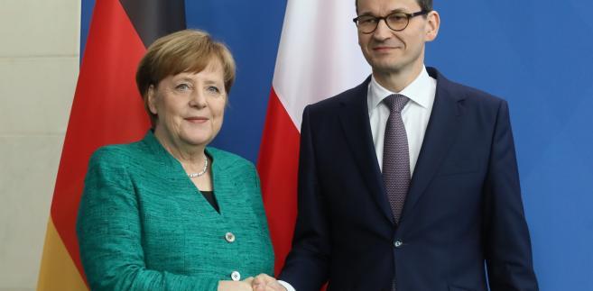 Premier RP Mateusz Morawiecki i kanclerz Niemiec Angela Merkel podczas konferencji prasowej w Berlinie