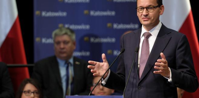 Premier Mateusz Morawiecki podczas spotkania z mieszkańcami Katowic.